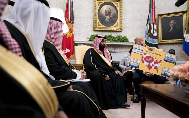 President Donald Trump discusses arms sales during a meeting with Crown Prince Mohammed bin Salman of Saudi Arabia in the Oval Office of the White House in Washington, March 20, 2018. The New York Times.