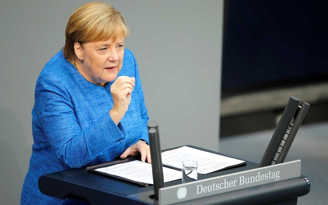 German Chancellor Angela Merkel speaks during the budget debate in the Bundestag, the lower house of parliament in Berlin, Germany September 11, 2019. REUTERS