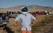 Tim Sherno in the desert near Rachel, Nev., where thousands gathered for an event that started as an internet joke, Sept. 20, 2019. Sherno came for the gathering outside the secretive Area 51 military base that, despite starting as a viral online joke, was bewitched to life by people who committed to making it happen. (Jessica Pons/The New York Times)