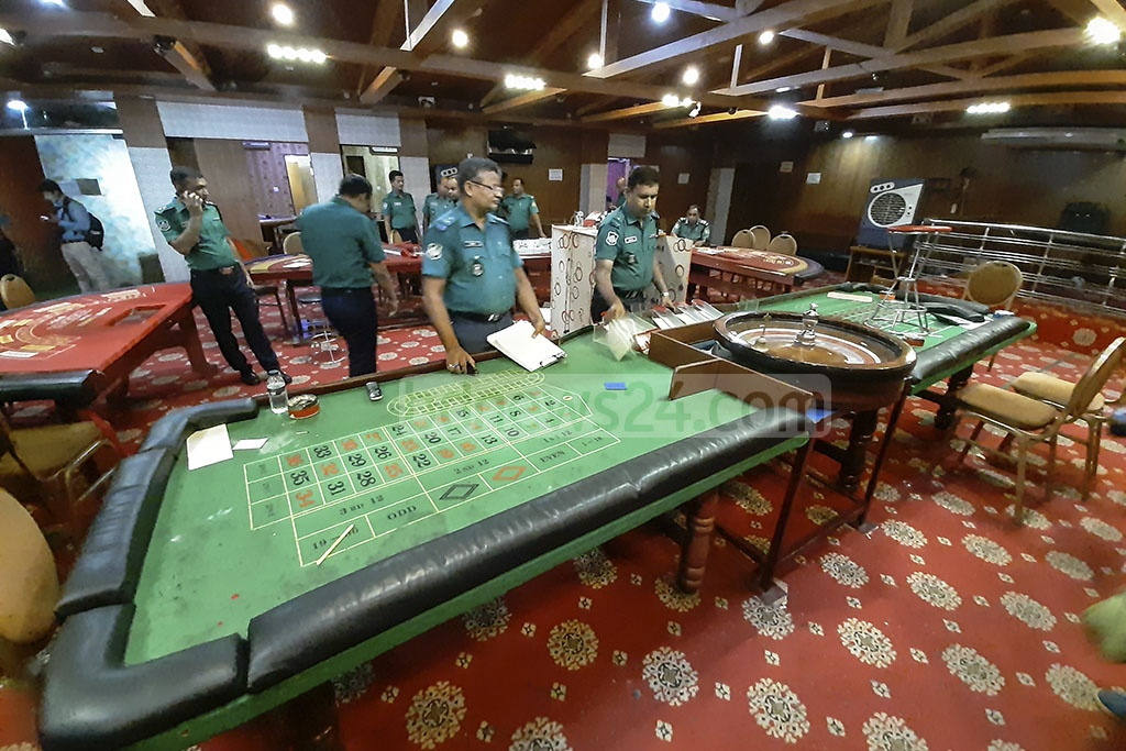 Police have found various gambling equipment, including a roullete table, inside Motijheel's Dilkusha Sporting Club during a raid on Sunday. Photo: Abdullah Al Momin