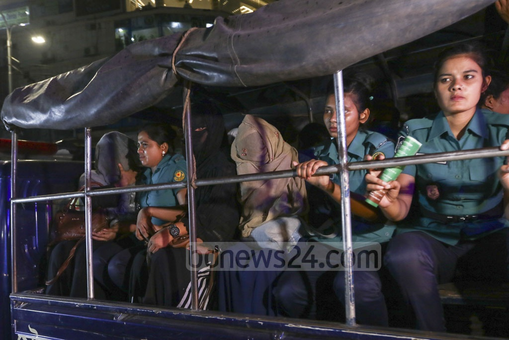 "Police detained 16 women and three men during a raid on three spas at Navana Tower in Dhaka's Gulshan for alleged ""unsocial activities in illegal massage parlours"" on Sunday night. Photo: Mahmud Zaman Ovi"