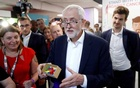 Britain's Labour party leader Jeremy Corbyn visits one of the stands during the Labour Party annual conference in Brighton, Britain September 22, 2019. REUTERS