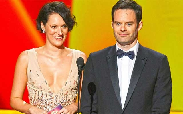 Winners Phoebe Waller-Bridge and Bill Hader speak onstage during the 71st Emmy Awards at Microsoft Theater on Sept. 22, 2019 in Los Angeles. (Getty)