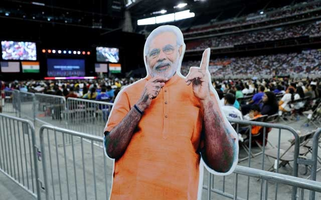Cardboard cutout depicting India's Prime Minister Narendra Modi is seen during the
