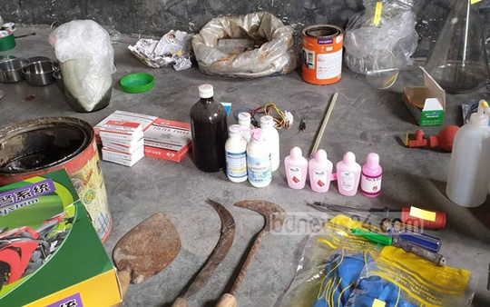 Law enforcement recovered a huge cache of explosives and bomb-making materials in a raid on a militant hideout in Narayanganj's Fatullah on Monday.