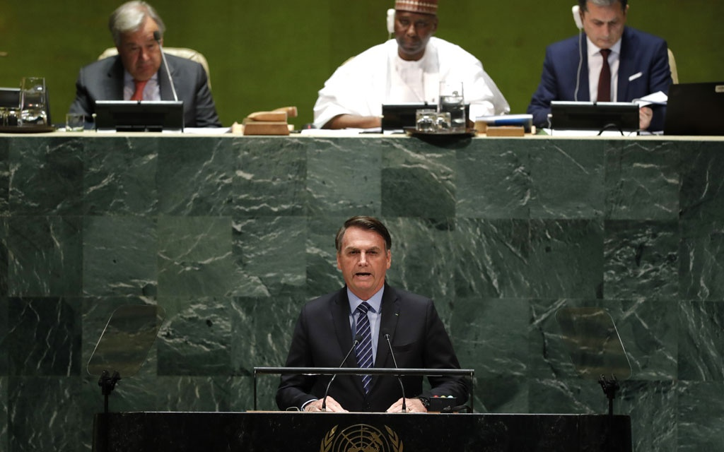 Brazil's President Jair Bolsonaro addresses the 74th session of the United Nations General Assembly at UN headquarters in New York City, New York, US, September 24, 2019. REUTERS/Lucas Jackson