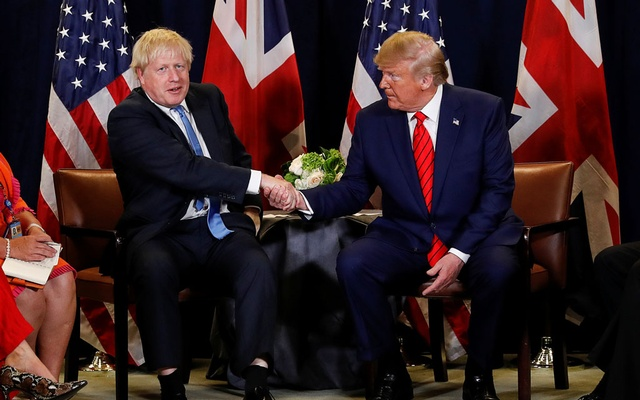 US President Donald Trump holds a bilateral meeting with British Prime Minister Boris Johnson on the sidelines of the annual United Nations General Assembly in New York City, New York, US, September 24, 2019. REUTERS/Jonathan Ernst