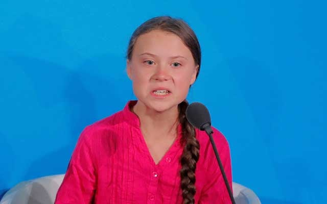 FILE PHOTO: 16-year-old Swedish climate activist Greta Thunberg speaks at the 2019 United Nations Climate Action Summit at UN headquarters in New York City, New York, US, September 23, 2019. Reuters
