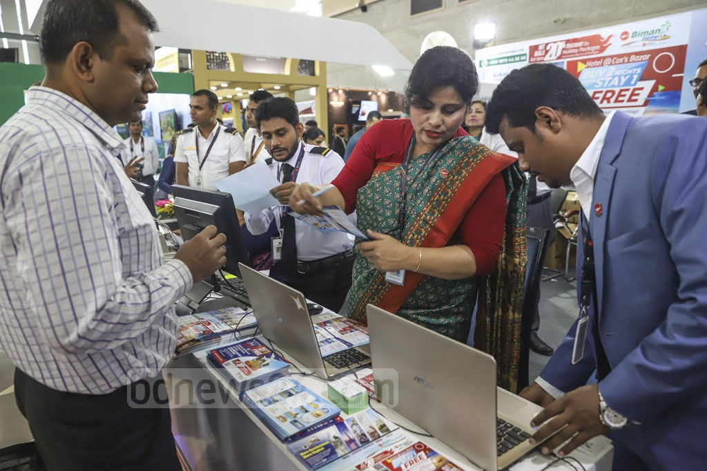 A three-day Asian Tourism Fair began on Thursday at International Convention City Bashundhara, Dhaka, with the participation of organisations, including local and foreign tourism companies, airlines, travel agents, tour operators, hotels and resorts. Photo: Abdullah Al Momin