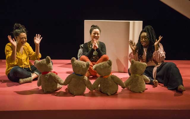 "From left, Satomi Blair, Tina Chilip and Maechi Aharanwa in Anna Moench's ""Mothers,"