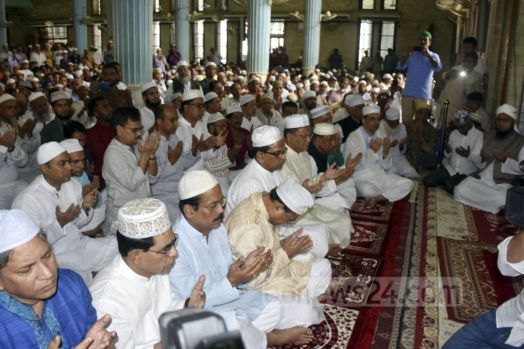 Awami League leaders Amir Hossain Amu, Obaidul Quader and others praying for Prime Minister Sheikh Hasina's well-being during Jum'a prayers at the Baitul Mukarram National Mosque in Dhaka a day before her birthday on Friday.