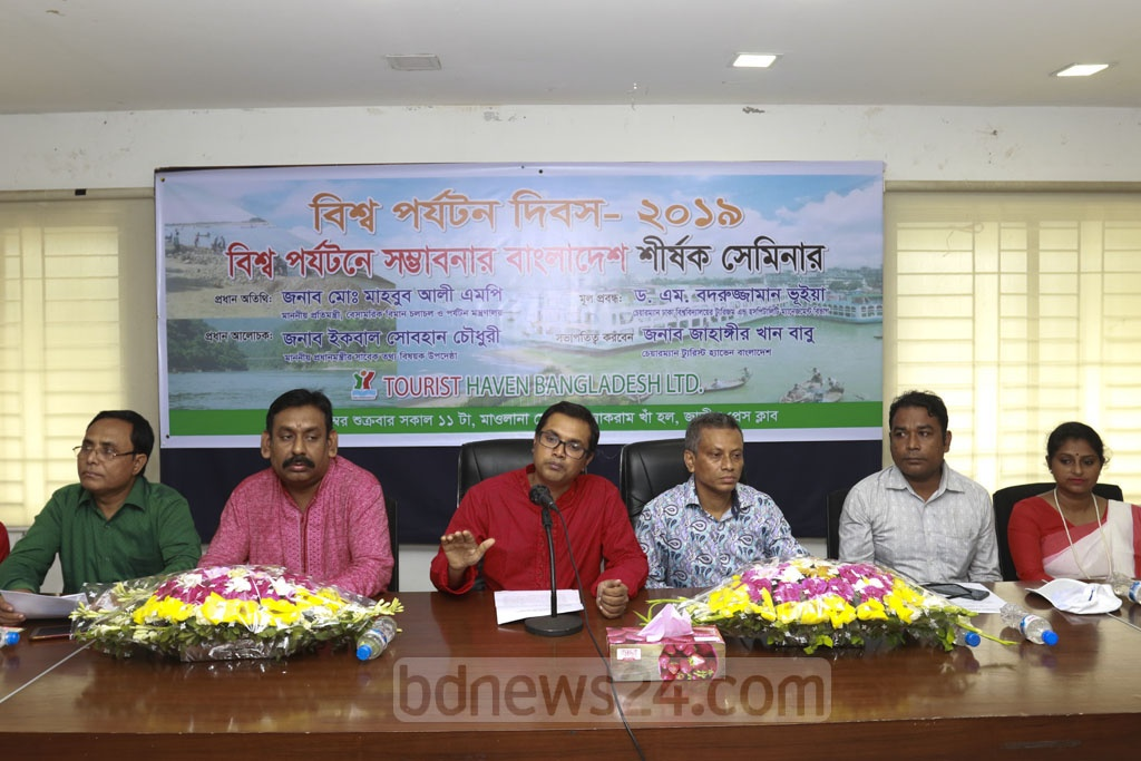 Speakers address a seminar on the prospects of tourism in Bangladesh at the National Press Club on Friday.