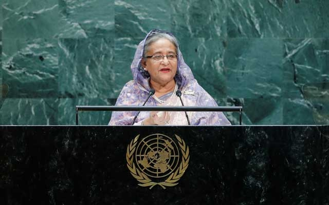 File Photo: Bangladesh's Prime Minister Sheikh Hasina addresses the 74th session of the United Nations General Assembly at UN headquarters in New York City, New York, US, September 27, 2019. Reuters