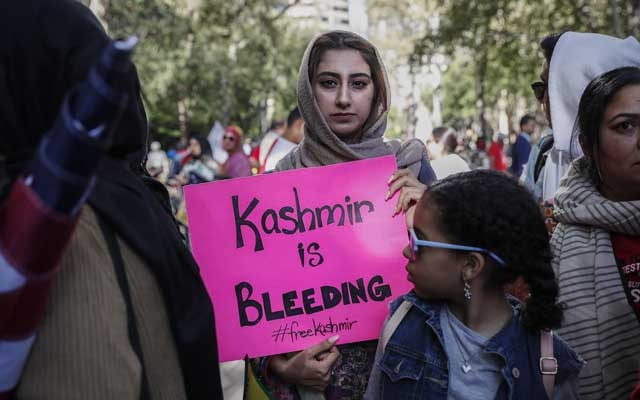 "File Photo: Demonstrators protest during a ""Stand with Kashmir"" protest in solidarity with the people of Kashmir outside the United Nations headquarters in New York, US, Sep 27, 2019. REUTERS"