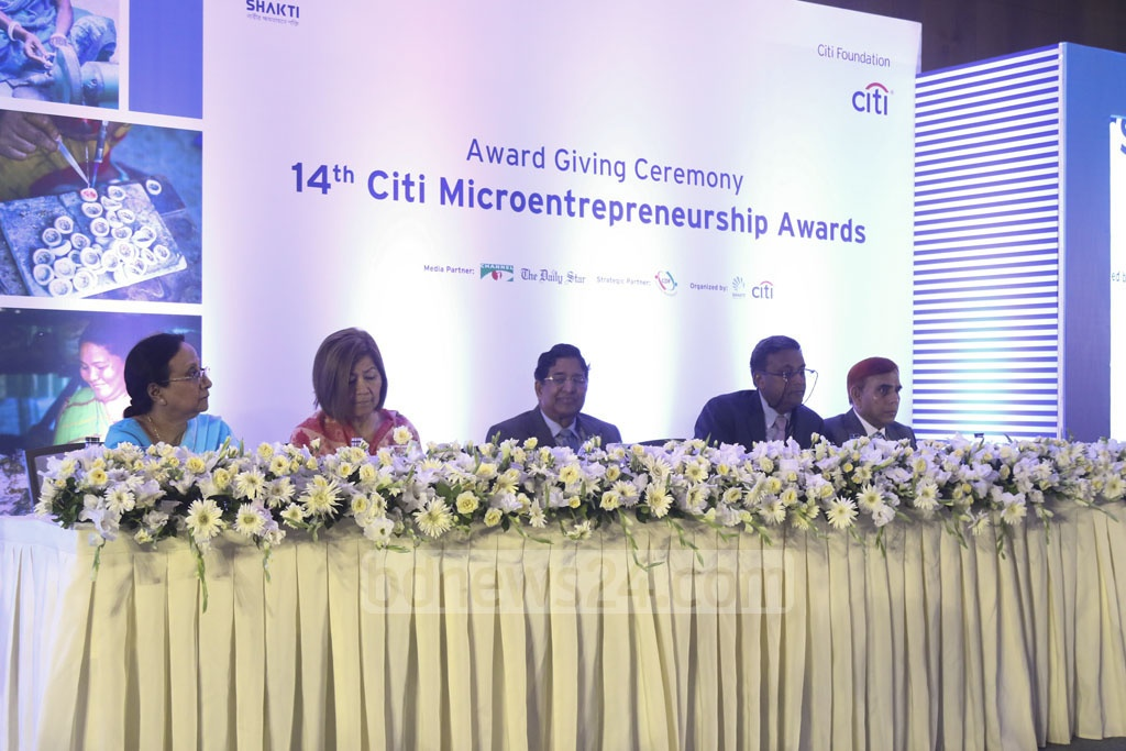 Agriculture Minister Abdur Razzaque among the guests at the 14th Citi Microentrepreneurship Awards ceremony in Dhaka on Sunday. Photo: Mahmud Zaman Ovi