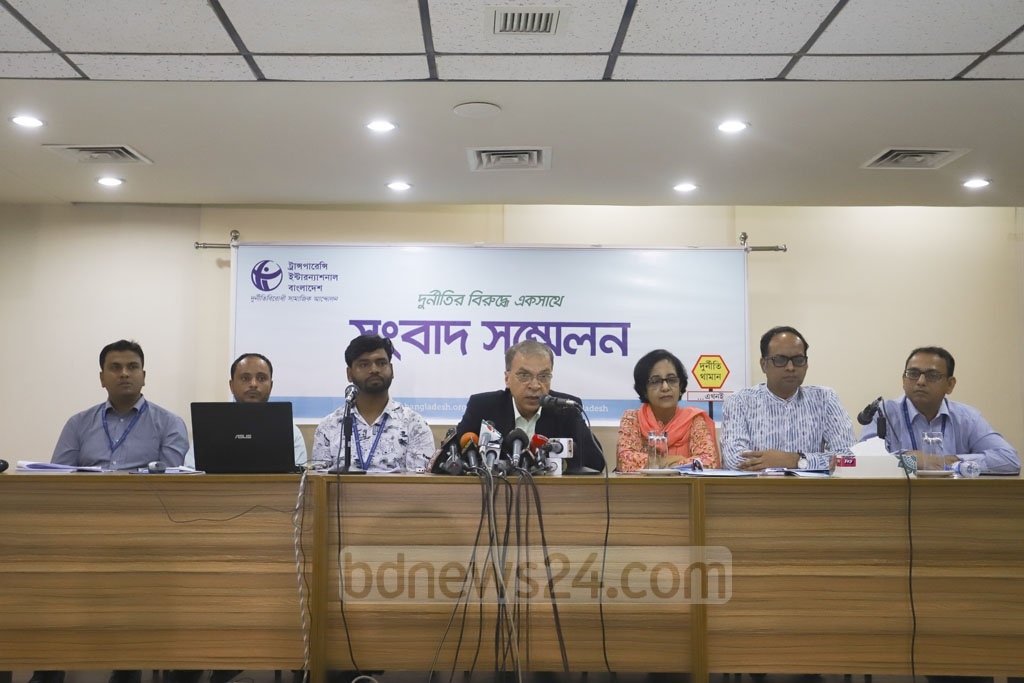 Transparency International, Bangladesh or TIB published its study in Dhaka on Sunday on preparations and relief efforts for the floods earlier this year. Photo: Asif Mahmud Ove