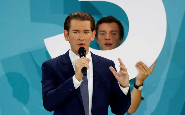 Peoples Party (OeVP) top candidate and former Chancellor Sebastian Kurz addresses supporters after Austria's snap parliamentary election in Vienna, Austria Sep 29, 2019. REUTERS