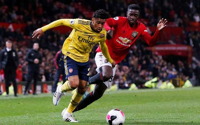 Premier League - Manchester United v Arsenal - Old Trafford, Manchester, Britain - September 30, 2019 Manchester United's Axel Tuanzebe in action with Arsenal's Reiss Nelson REUTERS