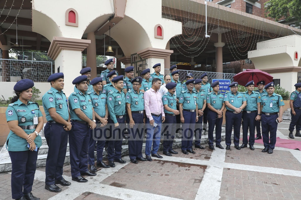 Dhaka Metropolitan Police Commissioner Shafiqul Islam visiting the Dhakeshwari National Temple on Thursday to see security measures on the occasion of Durga Puja, the biggest religious festival of the Hindus in Bangladesh.