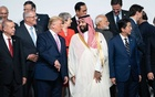 FILE -- Saudi Crown Prince Mohammed bin Salman joins President Donald Trump and other world leaders for a photo at the Group of 20 summit in Osaka, Japan, June 28, 2019. The Saudi government has acknowledged that Iraq and Pakistan offered to mediate talks between regional adversaries Iran and Saudi Arabia, while denying that Crown Prince Mohammed took the initiative. (Erin Schaff/The New York Times)