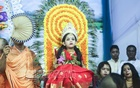 A girl was the living icon of child Durga during Kumari Puja in Dhaka's Ramakrishna Mission on Maha Ashtami of the Sharodiyo Durgotsob on Sunday.