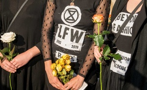 Protesters gather at Trafalgar Square for an Extinction Rebellion protest of fashion during London Fashion Week, Sep 17, 2019. The New York Times