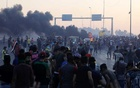 Demonstrators gather at a protest after the lifting of the curfew, following four days of nationwide anti-government protests that turned violent, in Baghdad, Iraq Oct 5, 2019. REUTERS