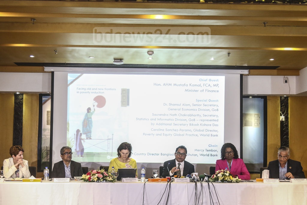 Guests addressing the presentation ceremony of World Bank's latest study on poverty in Bangladesh at the capital's Amari Hotel on Monday. Photo: Mahmud Zaman Ovi