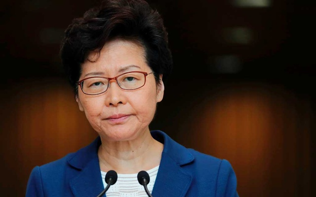 Hong Kong Chief Executive Carrie Lam speaks during a news conference in Hong Kong, China, Oct 8, 2019. REUTERS