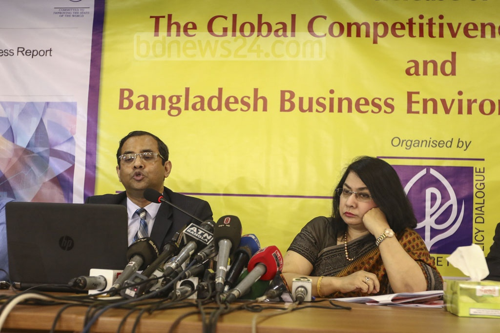 Centre for Policy Dialogue (CPD) released 'The Global Competitiveness Report-2019' and 'Bangladesh Business Environment Study-2019' at the Economic Reporters Forum's auditorium in Dhaka on Wednesday. Photo: Mahmud Zaman Ovi