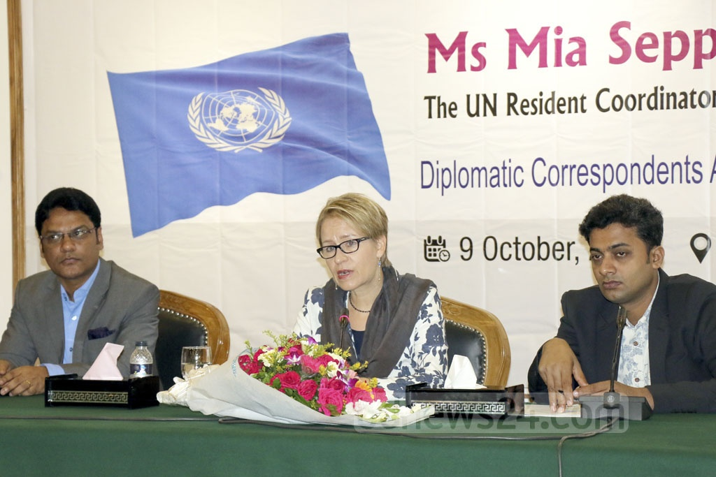 United Nations Resident Coordinator Mia Seppo speaking at a discussion organised by the Diplomatic Correspondents Association, Bangladesh in Dhaka on Wednesday.