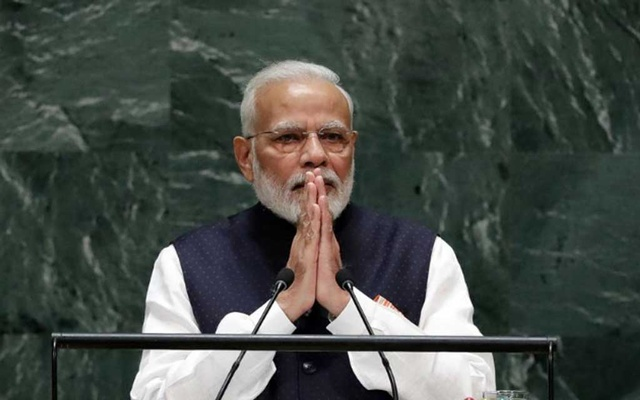 FILE PHOTO: Prime Minister of India Narendra Modi addresses the 74th session of the United Nations General Assembly at UN headquarters in New York, US, September 27, 2019. REUTERS