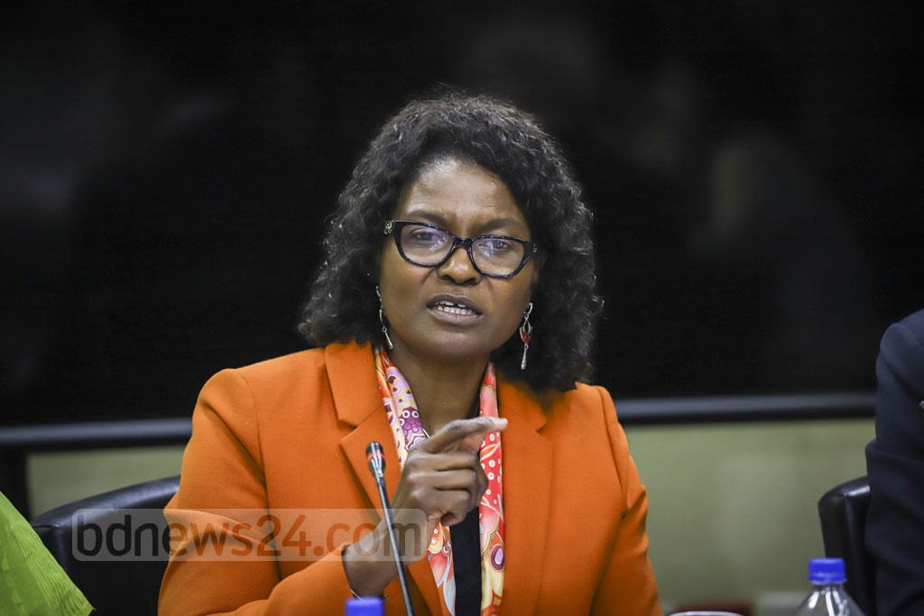 Mercy Tembon, World Bank's country director for Bangladesh and Bhutan, speaks during the launch of a report titled 'Bangladesh Development Update October 2019: Tertiary Education and Job Skills' at its Agargaon office in Dhaka on Thursday. Photo: Asif Mahmud Ove