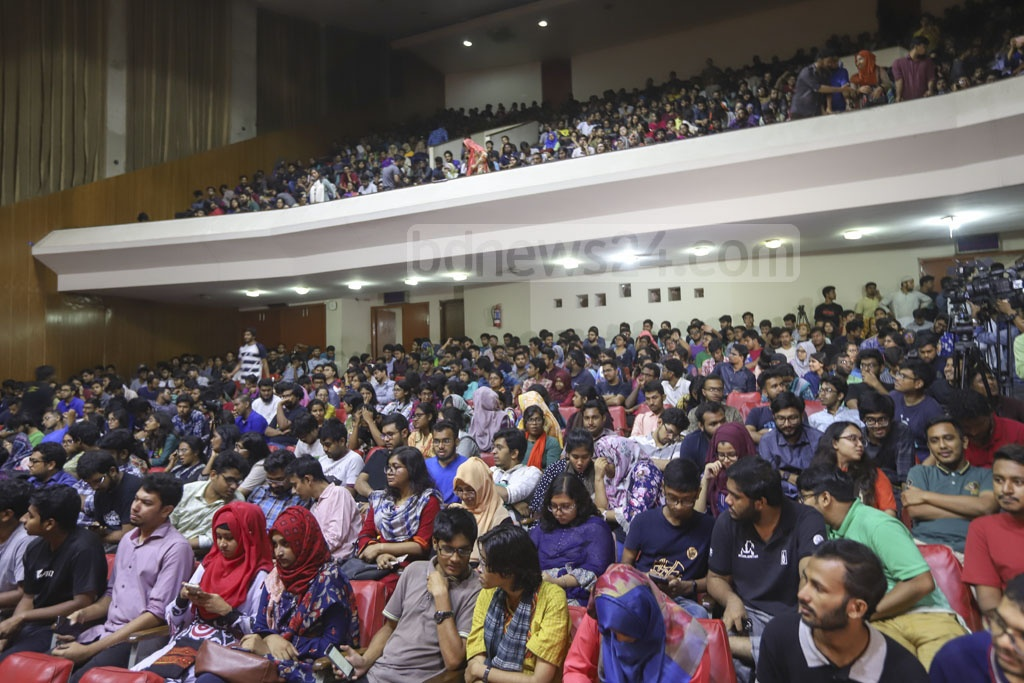 BUET students, who are demonstrating for a 10-point charter of demand following the murder of their peer Abrar Fahad, met the vice-chancellor at the auditorium on Friday. Photo: Abdullah Al Momin