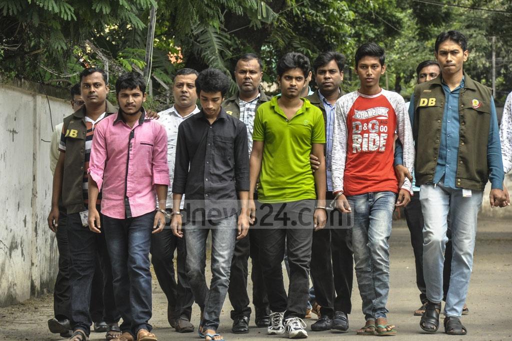 Four suspected members of banned militant group Ansar Al Islam, arrested in Dhaka's Jatrabari on Thursday, were taken to police's Detective Branch office on Minto Road on Friday.