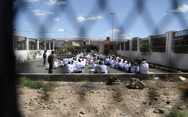 Detainees wait for their release by the Houthis at the central prison of Sanaa, Yemen September 30, 2019. REUTERS