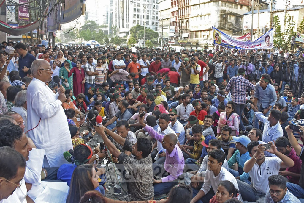 BNP National Standing Committee Member Khandaker Mosharraf Hossain addressing a rally outside the party's offices in Dhaka's Naya Paltan on Saturday in protest against the murder of BUET student Abrar Fahad and release of its chief Khaleda Zia from jail.