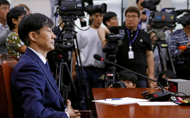 FILE PHOTO: Justice Minister nominee Cho Kuk attends a hearing at the national assembly in Seoul, South Korea, Sep 6, 2019. REUTERS