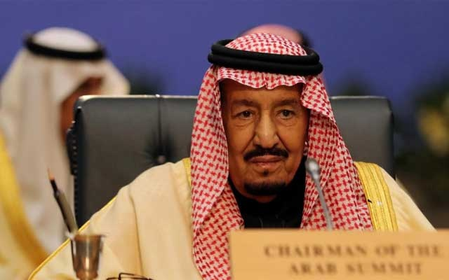 FILE PHOTO: Saudi Arabia's King Salman attends a summit between Arab league and European Union member states, in the Red Sea resort of Sharm el-Sheikh, Egypt, Feb 24, 2019. REUTERS