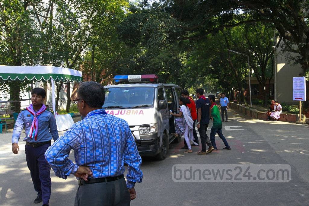 The BUET authorities kept vehicles ready to transport candidates to admission test centres on the campus on Monday.