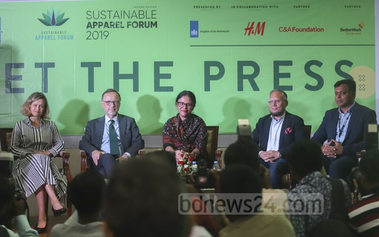 Guests at a media conference at a Dhaka hotel on Monday on the 2nd Sustainable Apparel Forum 2019 scheduled to be held in the capital on Nov 5.