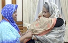 Prime Minister Sheikh Hasina hugs and consoles slain BUET student Abrar Fahad's mother Rokeya Khatun at the Ganabhaban on Monday.