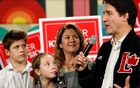 Liberal leader and Canadian Prime Minister Justin Trudeau, his wife Sophie Gregoire Trudeau, their son Xavier and their daughter Ella-Grace attend an election campaign visit to Hamilton, Ontario, Canada October 14, 2019. REUTERS