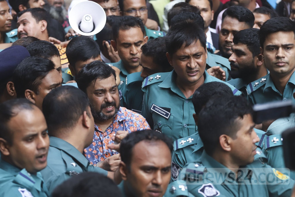 Police took expelled Jubo League leader Ismail Hossain Chowdhury Samrat into a 10-day custody on Tuesday following permission given by the Chief Metropolitan Magistrate's court of Dhaka. Photo: Abdullah Al Momin