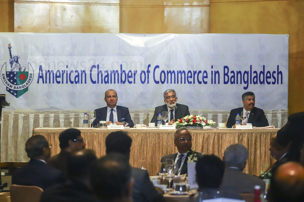 Guests attended an event organised by the American Chamber of Commerce in Bangladesh at Westin Hotel in Dhaka on Wednesday. Photo: Asif Mahmud Ove