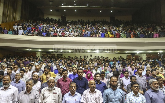 The oath-taking began with a minute's silence in honour of slain student Abrar Fahad, who was bludgeoned allegedly by a group of Bangladesh Chhatra League activists on Oct 6. Photo: Mahmud Zaman Ovi