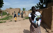 A displaced woman in the village of Yagma, near Burkina Faso's capital, Ouagadougou, in September. The New York Times