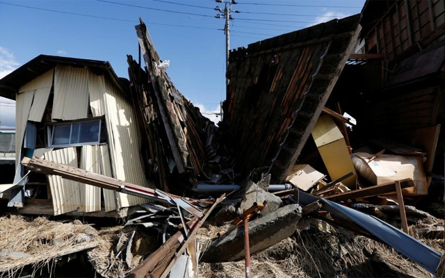 Destroyed houses are seen, in the aftermath of Typhoon Hagibis, in Koriyama, Fukushima prefecture, Japan Oct 15, 2019. REUTERS/Soe Zeya Tun