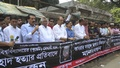 Forme DUCSU leaders held a human-chain demonstration outside the National Press Club in Dhaka on Thursday against the murder of BUET student Abrar Fahad.