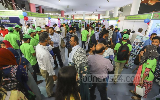 The two-day long National Biotechnology Fair organised by science and technology ministry is underway at the capital's Bangabandhu Novo Theatre. Photo: Asif Mahmud Ove